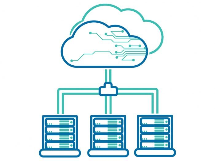 A illustration of web hosting depicting servers connected to the cloud