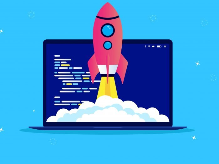 A rocket taking off from a laptop