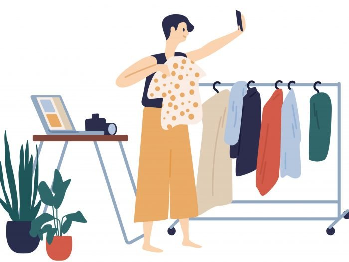 An illustration of a fashion blogger